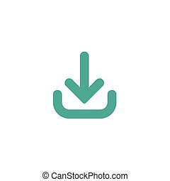 blue rounded arrow down icon. flat download sign isolated on white. point down button.