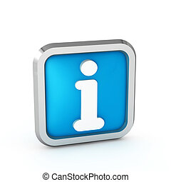 blue rounded info icon button on a white background