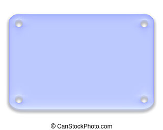 Blue rounded rectangle with soft glass effect and holes