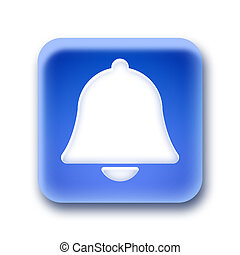 Blue rounded square button - Bell