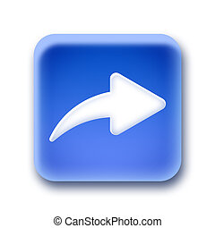 Blue rounded square button - Forward