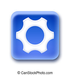 Blue rounded square button - Gear
