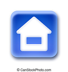 Blue rounded square button - Home