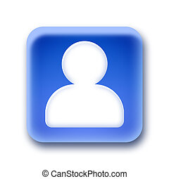 Blue rounded square button - Person