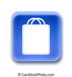 Blue rounded square button - Shopping bag