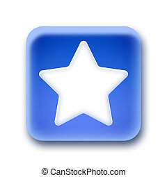 Blue rounded square button - Star