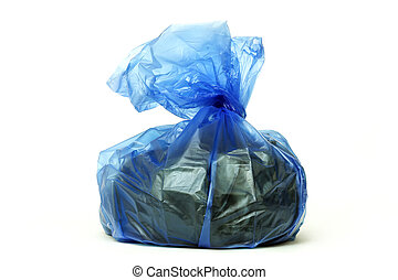 Blue rubbish bag isolated on white.
