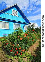blue rural house on celestial background
