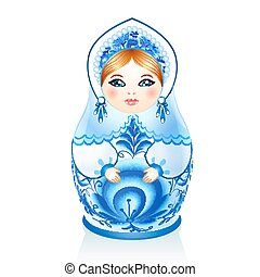Blue Russian doll Matreshka in gzhel style - Blue vector...