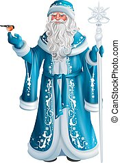 Blue Russian grandfather frost. Russian Santa Claus Saint ...