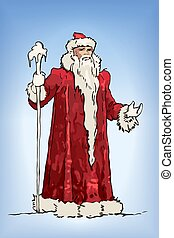 Blue Russian Grandfather Frost sketch. Ded Moroz - Blue ...