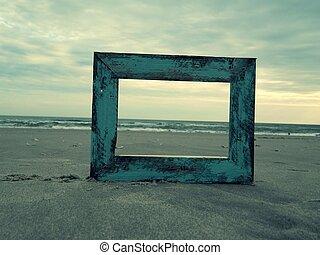 Blue Rustic Frame and Ocean