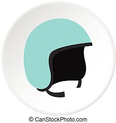 Blue safety helmet icon circle