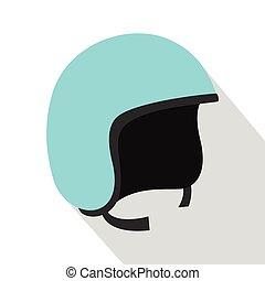 Blue safety helmet icon, flat style