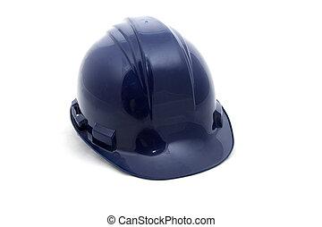 Blue safety helmet on a white background.