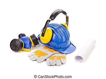 Blue safety helmet with earphones