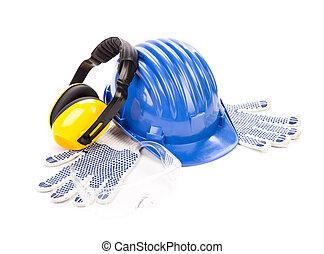 Blue safety helmet with earphones.