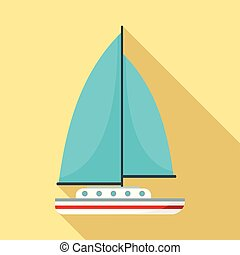 Blue sail boat icon, flat style