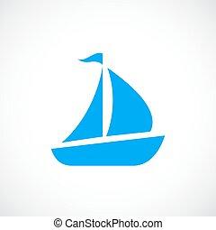 Blue sailboat vector icon