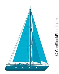 Blue sailing yacht