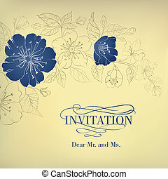 Blue sakura flowers on a vintage background. Vector illustration.
