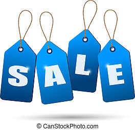Blue sale tags. Concept of discount shopping. Vector.