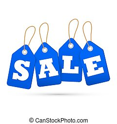 Blue sale tags. Concept of discount