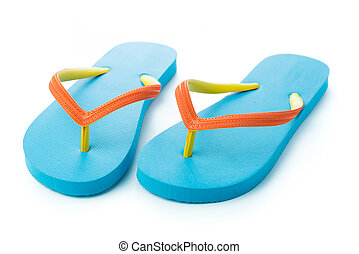 Pair of blue sandal isolated on white background