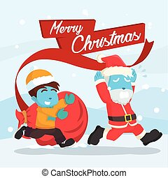 Blue santa chased by a kid