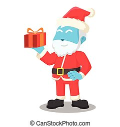 blue santa claus holding a gift