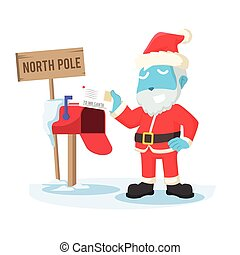 Blue santa receiving letter