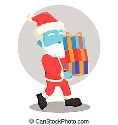 blue santa with many christmas gifts