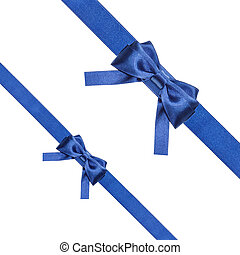 blue satin bows and ribbons isolated - set 34 - two blue...