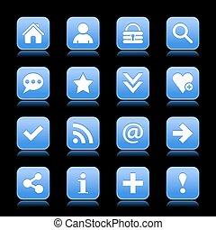 Blue satin icon web button with white basic sign