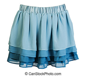 Blue satin mini skirt isolated on white background