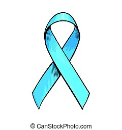Blue satin ribbon, prostate cancer awareness symbol, sketch vector illustration isolated on white background. Hand drawn blue ribbon, prostate cancer awareness sign
