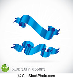 Blue Satin Ribbons Illustration, Icons, Button, Sign,...