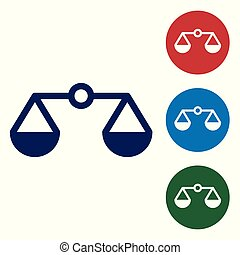 Blue Scales of justice icon isolated on white background. Court of law symbol. Balance scale sign. Vector Illustration