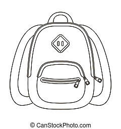 Blue school bag. A school bag for a book and notebooks.School And Education single icon in outline style bitmap symbol stock illustration.