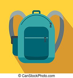 Blue school bag icon, flat style
