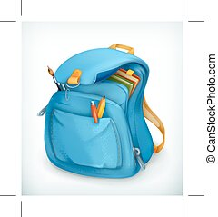 Blue school bag, vector icon, isolated on white background