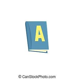 Blue school textbook cartoon vector Illustration
