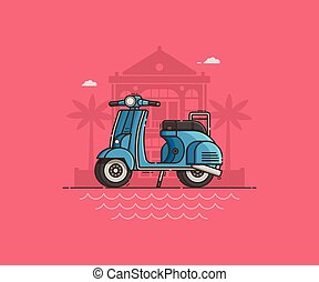 Blue Scooter on Villa Background