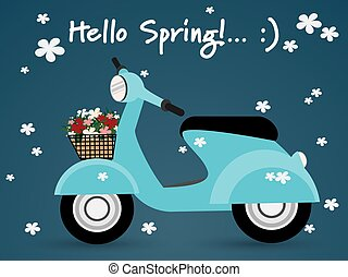 Blue scooter with basket full of spring flowers viewed from the side and Hello Spring text on blue background with cute white flowers.