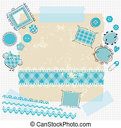 blue scrapbook kit with cute elements