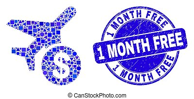 Blue Scratched 1 Month Free Stamp and Airplane Price Mosaic