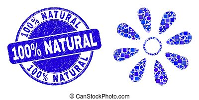 Blue Scratched 100% Natural Stamp Seal and Flower Mosaic