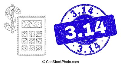 Blue Scratched 3.14 Stamp and Web Mesh Financial Calculator...