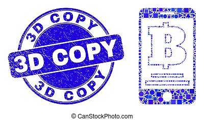 Blue Scratched 3D Copy Seal and Mobile Bank Mosaic