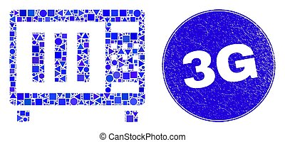 Blue Scratched 3G Stamp Seal and Microwave Oven Mosaic